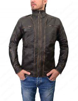 mens distressed black cafe racer jacket