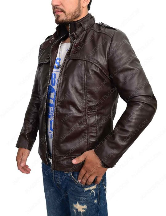 slim fit dark brown biker leather jacket