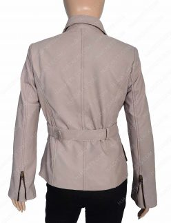 Womens Stone Leather Coat