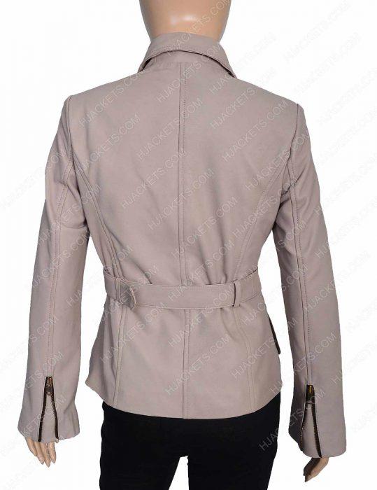 Womens Stone Leather Coat