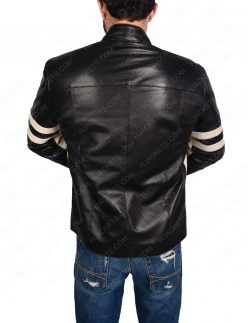 Mens Black Biker leather Jacket With Stripes