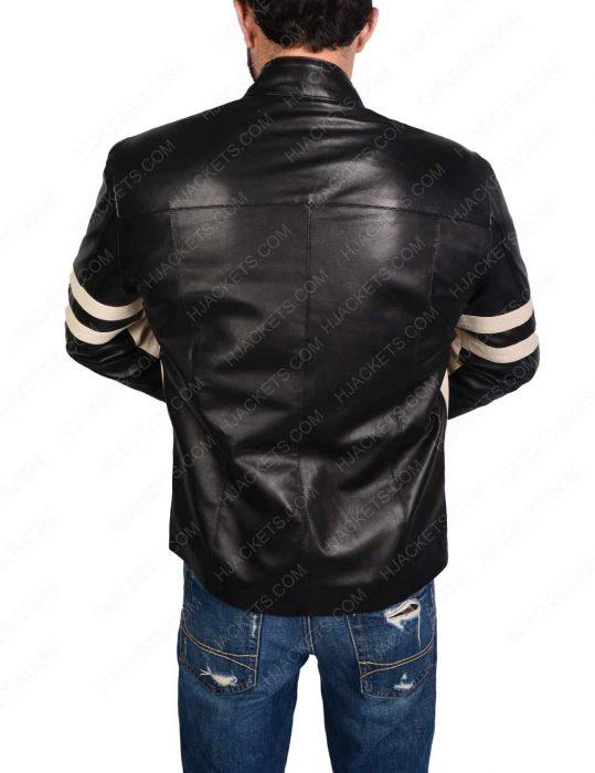 Mens Black Biker leather Jacket With Stripes