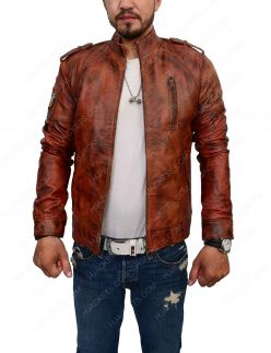 Distressed Brown Slim Fit Cafe Racer Jacket
