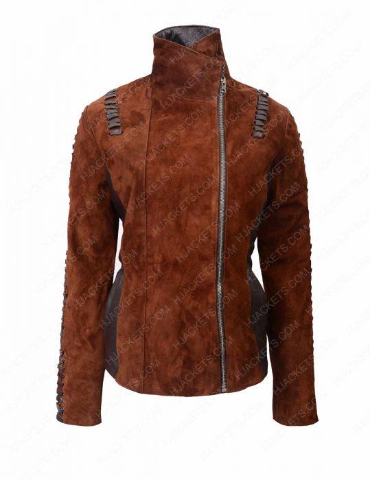 womens western suede leather biker jacket