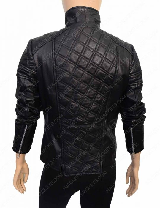womens quilted black jacket