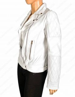Womens White Biker leather Jacket