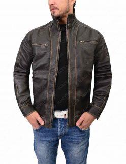 mens distressed cafe racer jacket