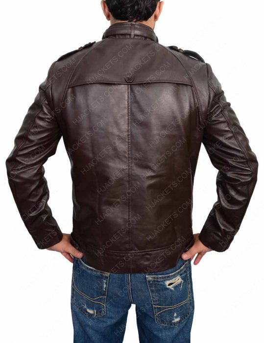 slim fit dark brown biker jacket