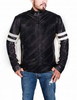 Mens Black Biker Jacket With Stripes