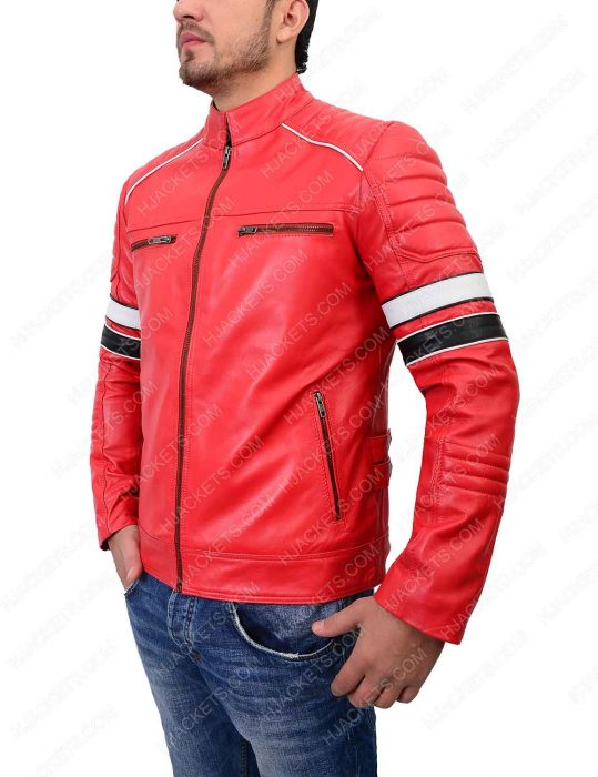 mens striped red café racer jacket