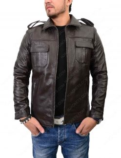 mens double pocket biker jacket