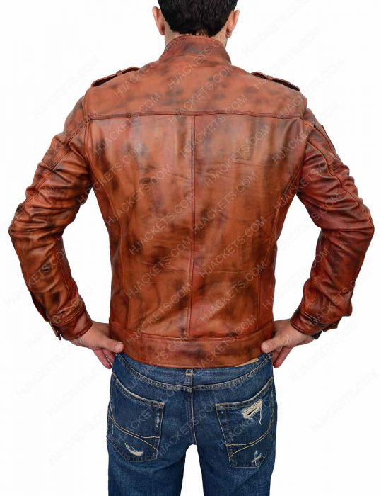 Cafe Racer Distressed Brown Slim Fit Jacket