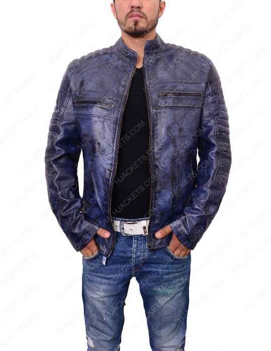 mens café racer blue waxed leather biker jacket