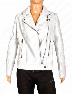 Womens White Biker Jacket