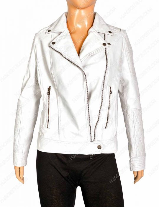 Womens White Biker Jacket