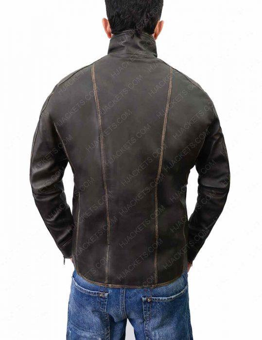 mens distressed cafe racer leather jacket