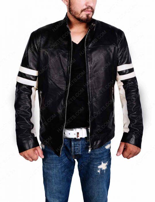 Mens Biker Jacket With Stripes
