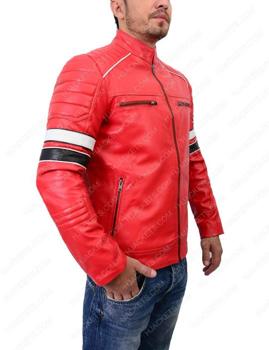 striped red café racer jacket