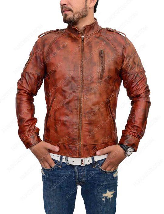 distressed brown slim fit cafe racer leather jacket