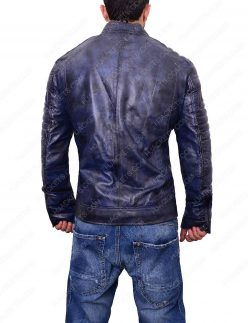 mens café racer blue waxed leather jacket
