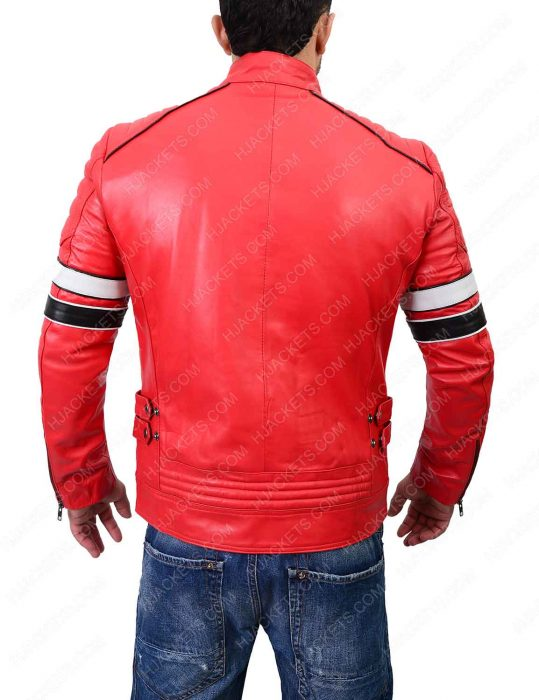 striped red café racer biker jacket