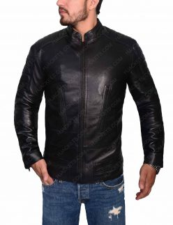mens slim fit padded biker jacket