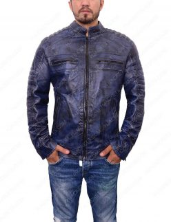 mens café racer blue waxed jacket