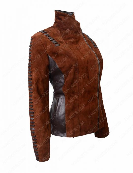 western suede biker leather jacket for womens