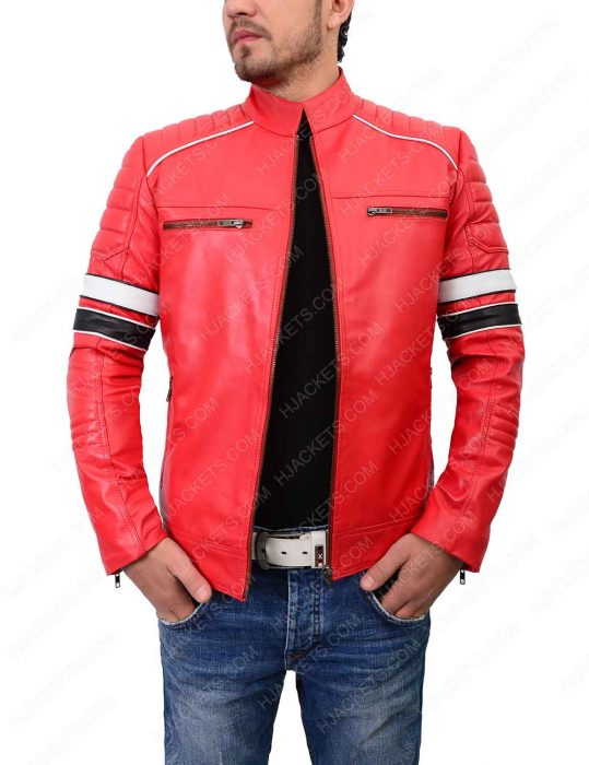 mens striped red café racer leather jacket