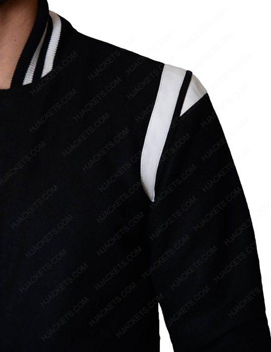 mens black and white letterman jacket