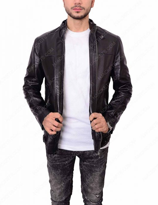 slim fit style zayn malik black leather jacket