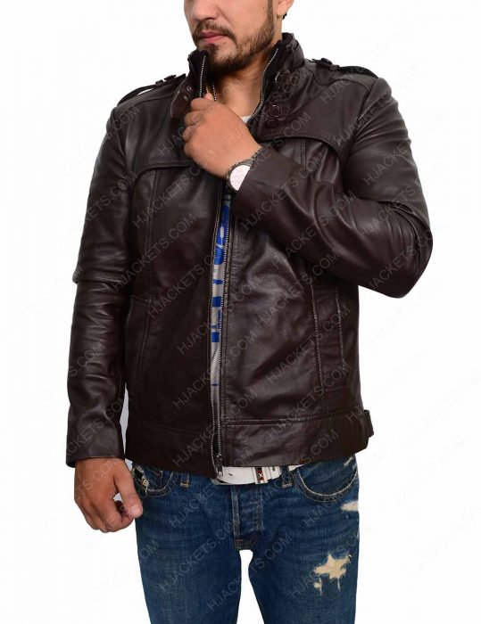 Mens Slim Fit Dark Brown Biker Jacket