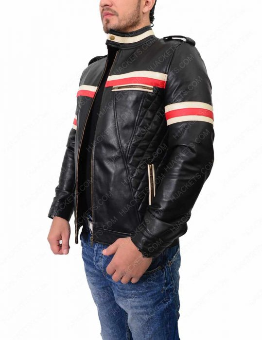 Mens Red And White Striped Jacket
