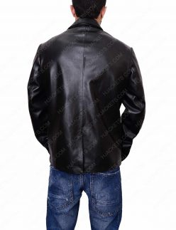 mens casual black leather blazer