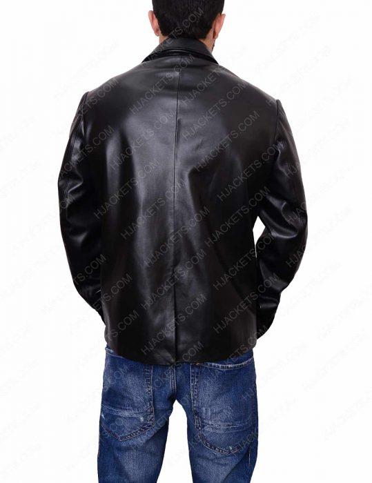 mens casual black leather blazer