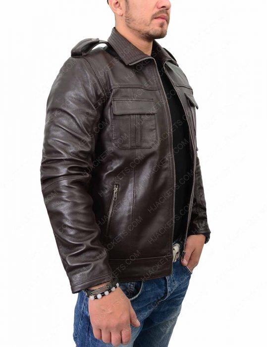 mens double pocket biker dark brown leather jacket