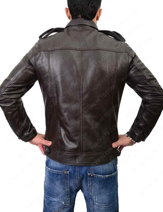 mens double pocket biker dark brown jacket