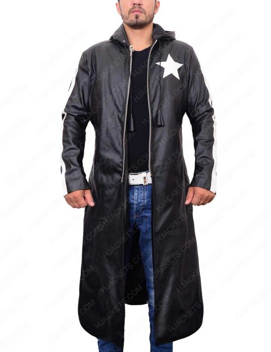 black rock shooter leather trench coat