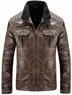 mens distressed brown quilted jacket, mens distressed brown quilted leather jacket
