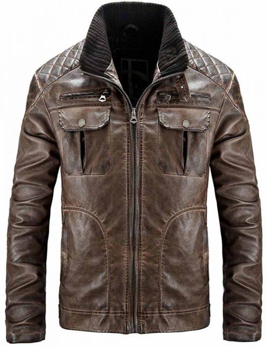 mens distressed brown quilted jacket, mens distressed brown quilted leather jacket