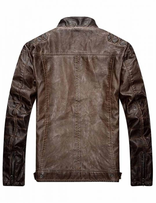 mens distressed brown quilted jacket