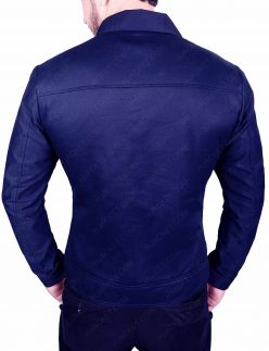 slim fit blue cotton jacket