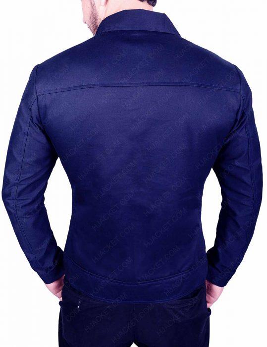 slim fit blue cotton jacket