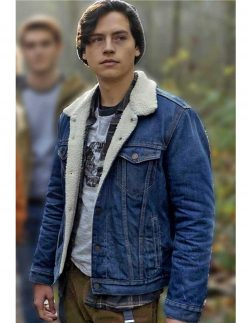 riverdale cole sprouse denim shearling jacket
