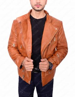 Mens Padded Brown Motorcycle Jacket