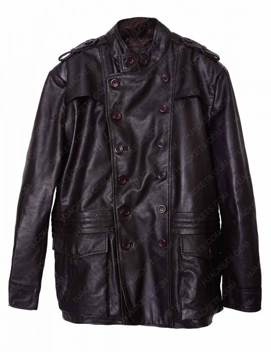 dark brown double breasted jacket
