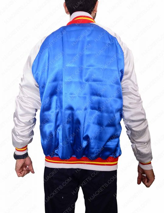 bomber blue satin jacket