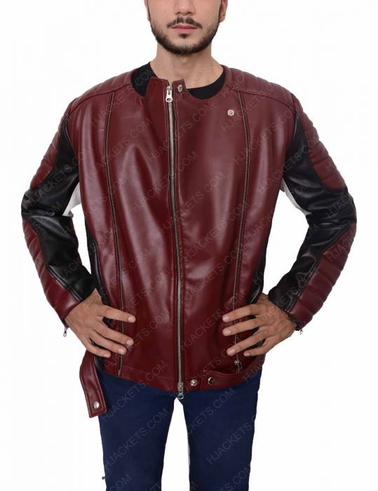 Biker Padded Shoulder Leather Jacket