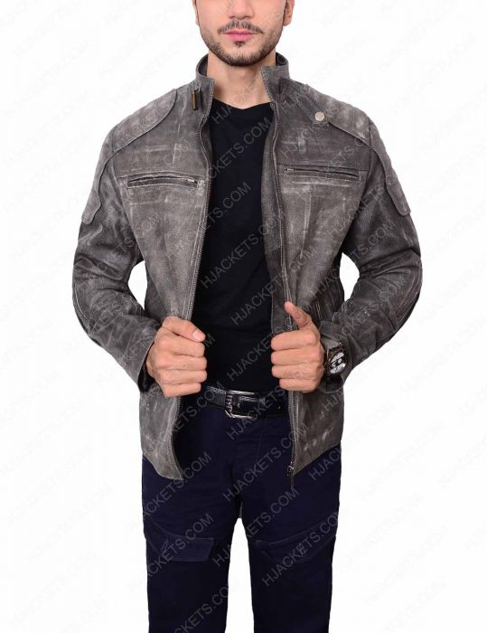 mens waxed biker leather jacket