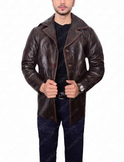 dark brown shirt collar leather jacket